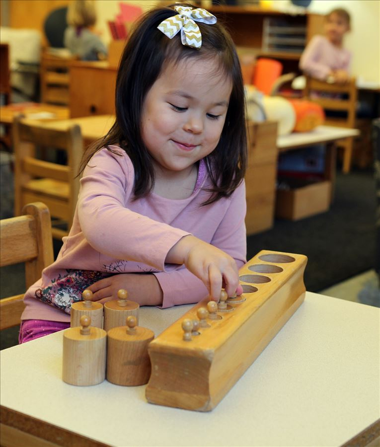 Knobed cylinders teach children to visually discriminate between dimensions.